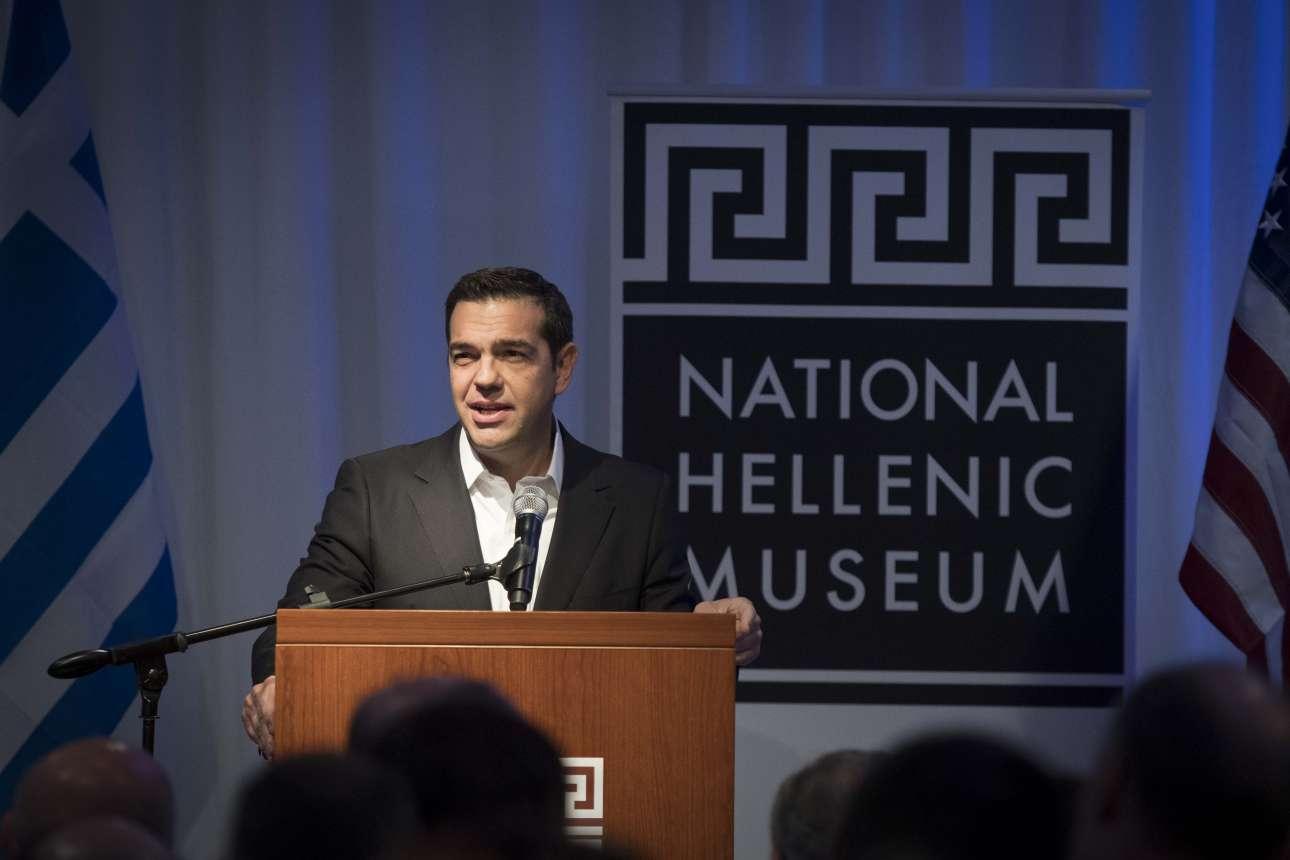 Ο Αλέξης Τσίπρας στην ομιλία του όπου διατύπωσε το περίφημο πλέον «Greece is Back»...