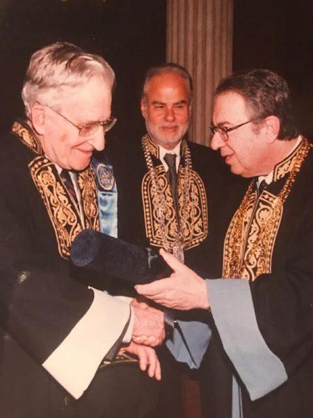 Ως πρύτανης κατά την αναγόρευση του Noam Chomsky σε επίτιμο διδάκτορα του Πανεπιστημίου Αθηνών (πίσω διακρίνεται ο αντιπρύτανης Χρήστος Κίττας)