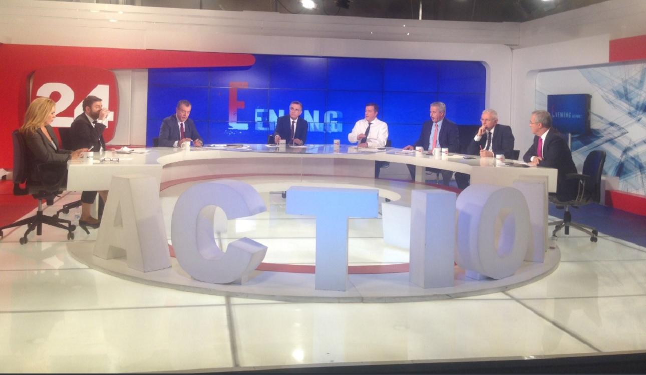 Οι υποψηφιοι μετέχοντες στο debate και οι δημοσιογράφοι που παρέμβαιναν