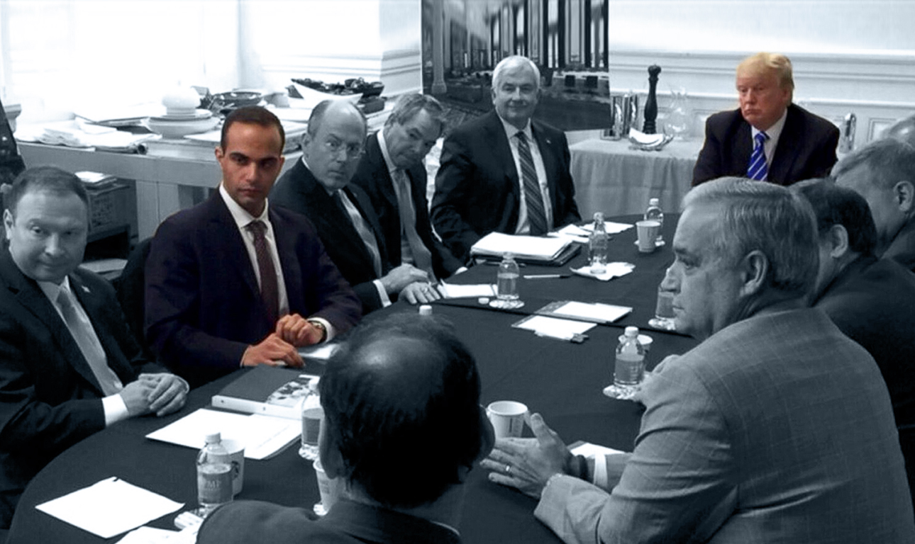 George Papadopoulos (3rd L) appears in a photograph released on Donald Trump's social media accounts with a headline stating that the scene was of his campaign's national security meeting in Washington, D.C. U.S. on March 31, 2016 and published April 1, 2016. Social Media/Handout via REUTERS THIS IMAGE HAS BEEN SUPPLIED BY A THIRD PARTY. NO RESALES. NO ARCHIVES