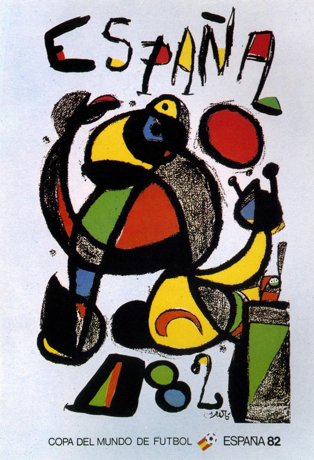 Ισπανία 1982. Σχέδιο από τον μεγάλο ισπανό υπερρεαλιστή ζωγράφο Zουάν Μιρό (μαζί με τον Πικάσο θεωρείται ο πατέρας της μοντέρνας ζωγραφικής) που ξεφεύγει από τα συνηθισμένα