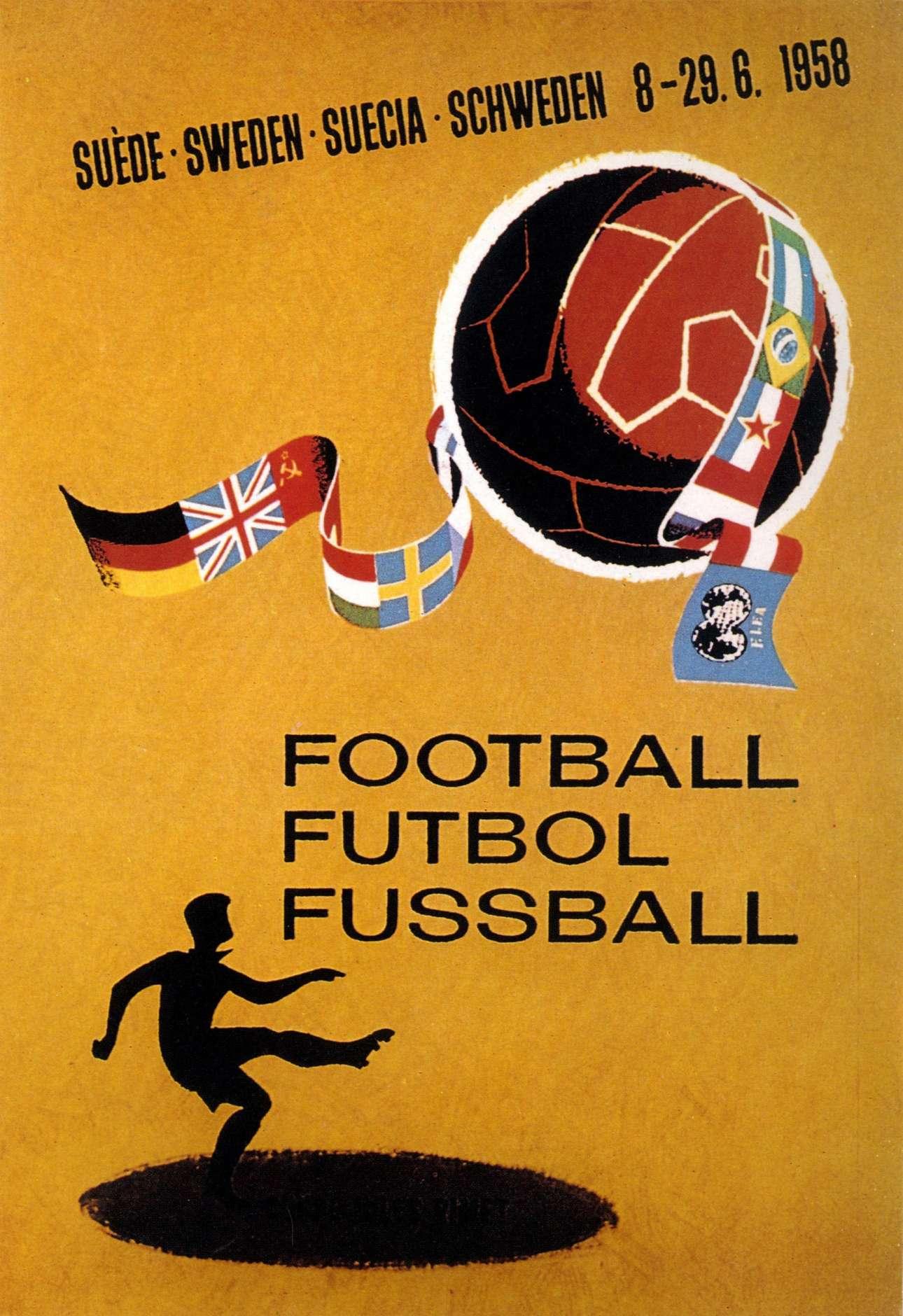 Σουηδία 1958. Πιο άρτιος σχεδιασμός και το ποδόσφαιρο σε τρεις διαφορετικές γλώσσες