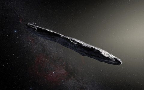 epa06340680 An undated handout photo made available by the European Southern Observatory (ESO) on 20 November 2017 shows an artist's impression shows the first interstellar asteroid `Oumuamua. This unique object was discovered on 19 October 2017 by the Pan-STARRS 1 telescope in Hawai'i. Subsequent observations from ESO's Very Large Telescope in Chile and other observatories around the world show that it was travelling through space for millions of years before its chance encounter with our star system. 'Oumuamua seems to be a dark red highly-elongated metallic or rocky object, about 400 metres long, and is unlike anything normally found in the Solar System.  EPA/ESO/M. Kornmesser / HANDOUT  HANDOUT EDITORIAL USE ONLY/NO SALES