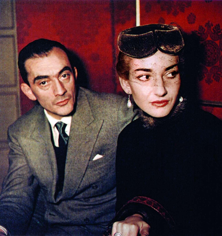 Με τον θρυλικό σκηνοθέτη Λουκίνο Βισκόντι στις πρόβες για το La vestale, στη Σκάλα του Μιλάνου, 1954