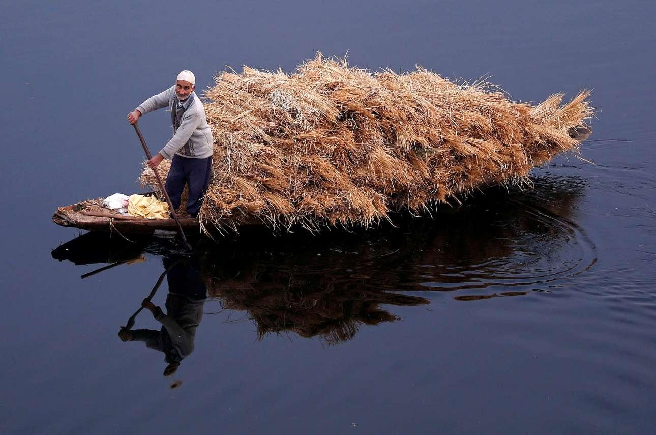 Πέμπτη, 16 Νοεμβρίου, Ινδία. Ηλικιωμένος άνδρας οδηγεί τη γεμάτη με άχυρο βάρκα του στα παγωμένα νερά της λίμνης Ναγκεέν στην πόλη Σριναγκάρ