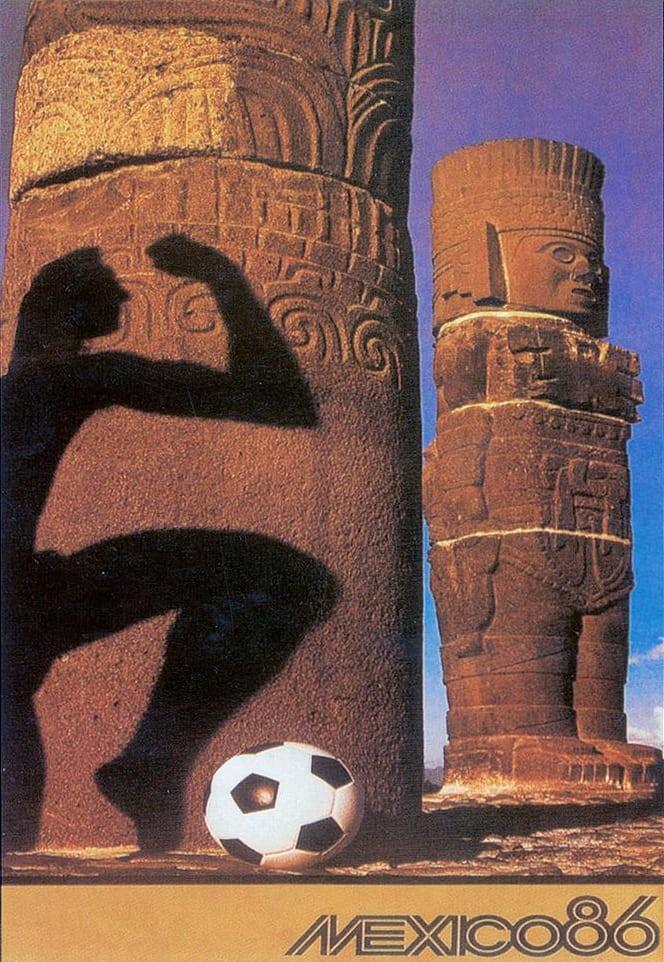 Μεξικό 1986. Τα αγάλματα των ιθαγενών πρωταγωνιστούν στο πόστερ για το Μουντιάλ του 86'