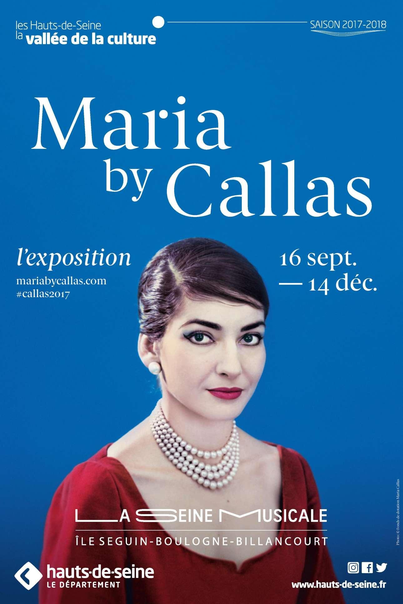 Η αφίσα της έκθεσης «Maria by Callas» που παρουσιάζεται στο La Seine Musicale της Γαλλίας