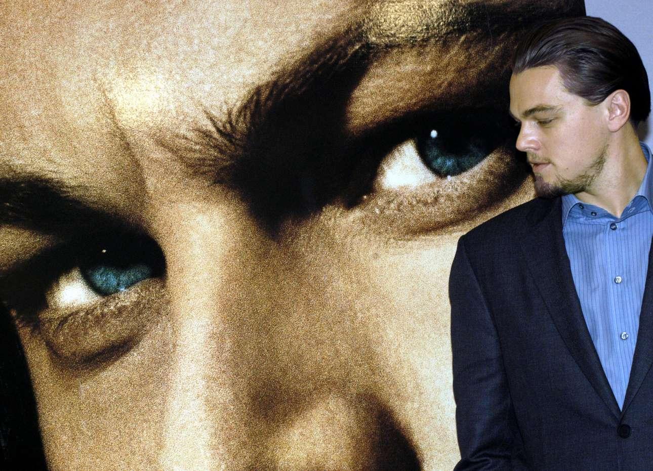 Ιανουάριος 2003, Ρώμη. O Λεονάρντο ντι Κάπριο αντιμέτωπος με το... βλέμμα του στις «Συμμορίες της Νέας Υόρκης». Το φιλμ γυρίστηκε στην Σινετσιτά