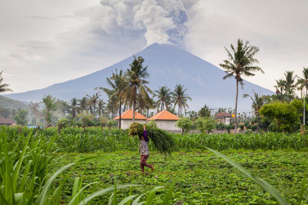 Το ηφαίστειο δείχνει απειλητικό όμως η ζωή στις ασφαλείς περιοχές συνεχίζεται. Εδώ μια γυναίκα κουβαλάει χόρτα κοντά στο σπίτι της