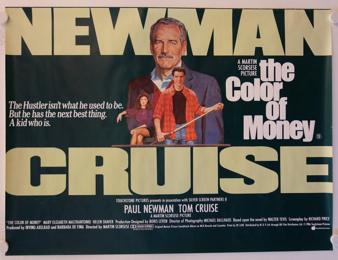 Αφίσα της ταινίας «Το Χρώμα του Χρήματος» («The Color of Money», 1986), που χάρισε στον Πολ Νιούμαν το μοναδικό του Οσκαρ α' ανδρικού ρόλου. Σκηνοθέτης ο Μάρτιν Σκορσέζε