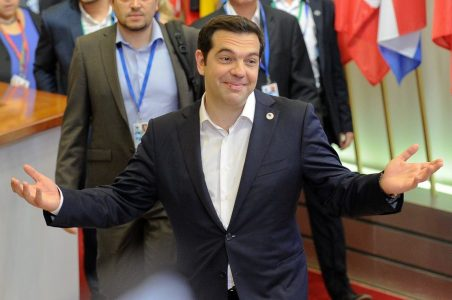 epa04836131 Greek Prime Minister Alexis Tsipras leaves at the end of an Eurozone summit at the European Council headquarters in Brussels, Belgium, 07 July 2015. Greek Prime Minister Alexis Tsipras met in Brussels with his 18 eurozone counterparts for an extraordinary summit, after a referendum in which Greeks rejected austerity measures proposed by the country's creditors. The referendum's result cast new doubts over Greece's future in the European common currency. Athens is quickly running out of funds, with financial controls in place, debt repayments due later this month and the country cut off from international bailout money.  EPA/LAURENT DUBRULE