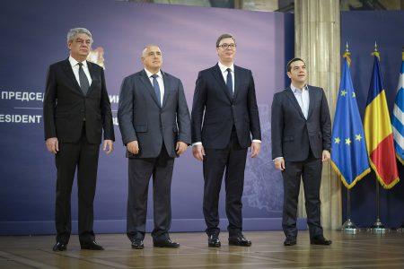 Ο πρωθυπουργός της Ρουμανίας, Μιχάι Τουντόσε (Α), ο πρωθυπουργός της Βουλγαρίας, Μπόικο Μπορίσοφ (2Α), ο Πρόεδρος της Σερβίας, Αλεξάνταρ Βούτσιτς (3Α) και ο πρωθυπουργός της Ελλάδας, Αλέξης Τσίπρας (4Α), φωτογραφίζονται κατά τη δεύτερη ημέρα της τετραμερής συνόδου Ελλάδας-Βουλγαρίας-Σερβίας-Ρουμανίας, στο προεδρικό μέγαρο του Βελιγραδίου, Σερβία, Σάββατο 9 Δεκεμβρίου 2017. ΑΠΕ-ΜΠΕ/ΓΡΑΦΕΙΟ ΤΥΠΟΥ ΠΡΩΘΥΠΟΥΡΓΟΥ/Andrea Bonetti