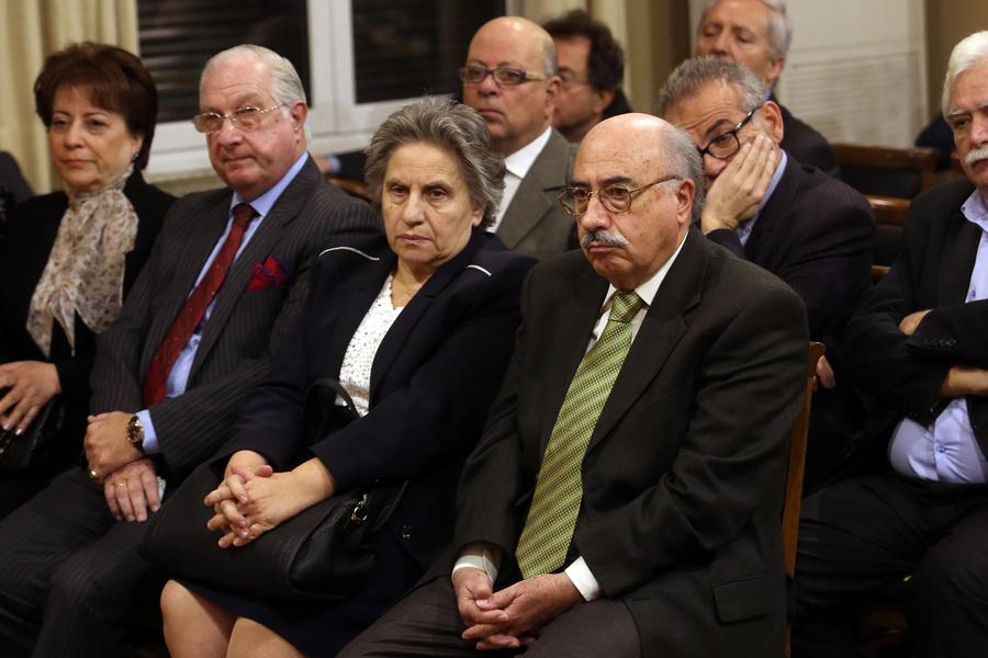 Ο πρόεδρος του Αρείου Πάγου, Βασίλειος Πέππας (4Α), η εισαγγελέας του Αρείου Πάγου, Ξένη Δημητρίου (3Α) και ο πρόεδρος του ΣτΕ, Νικόλαος Σακελλαρίου (2Α), παρακολουθούν τις εργασίες στην 33η ετήσια τακτική και καταστατική γενική συνέλευση της Ένωσης Εισαγγελέων Ελλάδος, στην Αίθουσα Τελετών του Δικηγορικού Συλλόγου Αθηνών, Αθήνα, Κυριακή 10 Δεκεμβρίου 2107. ΑΠΕ-ΜΠΕ/ ΑΠΕ-ΜΠΕ/ Αλέξανδρος Μπελτές
