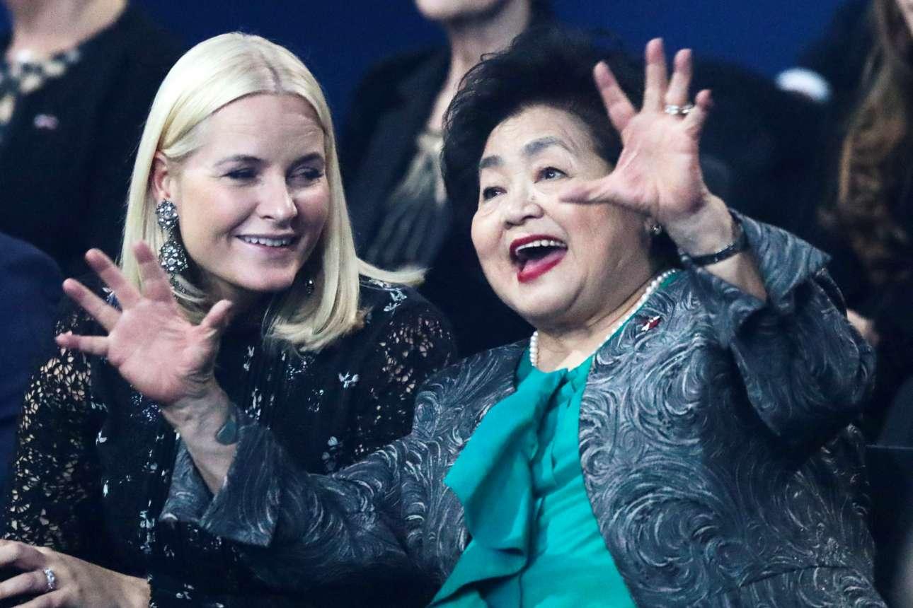 Η πριγκίπισσα Μέτε-Μαρίτ της Νορβηγίας και η επιζήσασα της Χιροσίμα Σετσούκο Θέρλοου σε εκδήλωση στο Οσλο