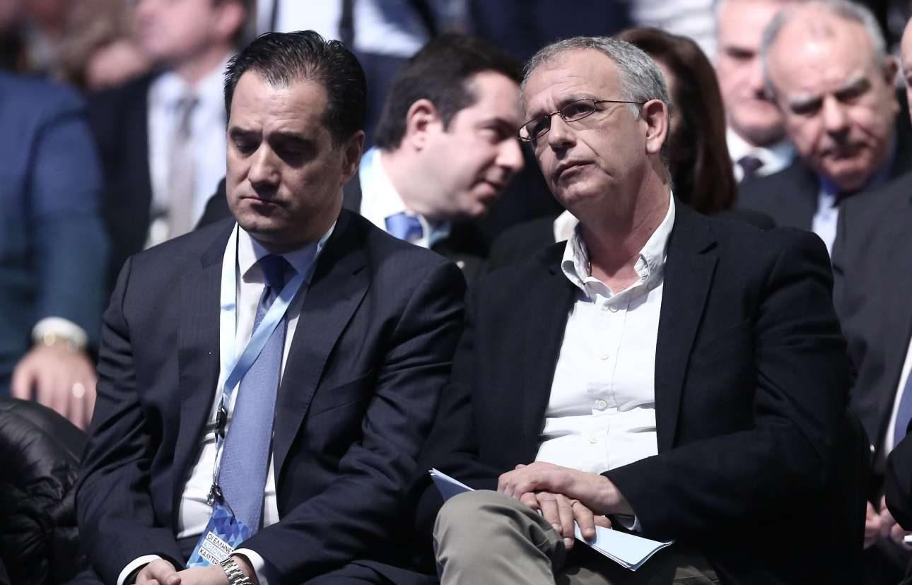 Μια δύσκολη συνύπαρξη: Αδωνις Γεωργιάδης, αντιπρόεδρος της ΝΔ και Παναγιώτης Ρήγας, γραμματέας του ΣΥΡΙΖΑ