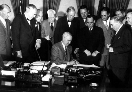 On April 3, 1948, President Harry S. Truman signed the Economic Cooperation Act of 1948, also know as the Marshall Plan, into law (George C. Marshall Museum & Library)
