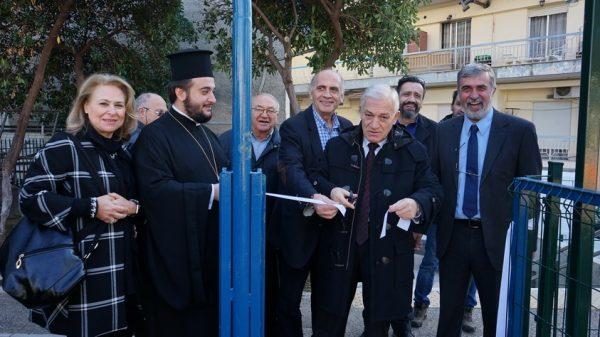 Ο Δήμαρχος Αμπελοκήπων-Μενεμένης Λάζαρος Κυρίζογλου εγκαινιάζει την παιδική χαρά, παρουσία στελεχών του Ομίλου ΕΛΠΕ
