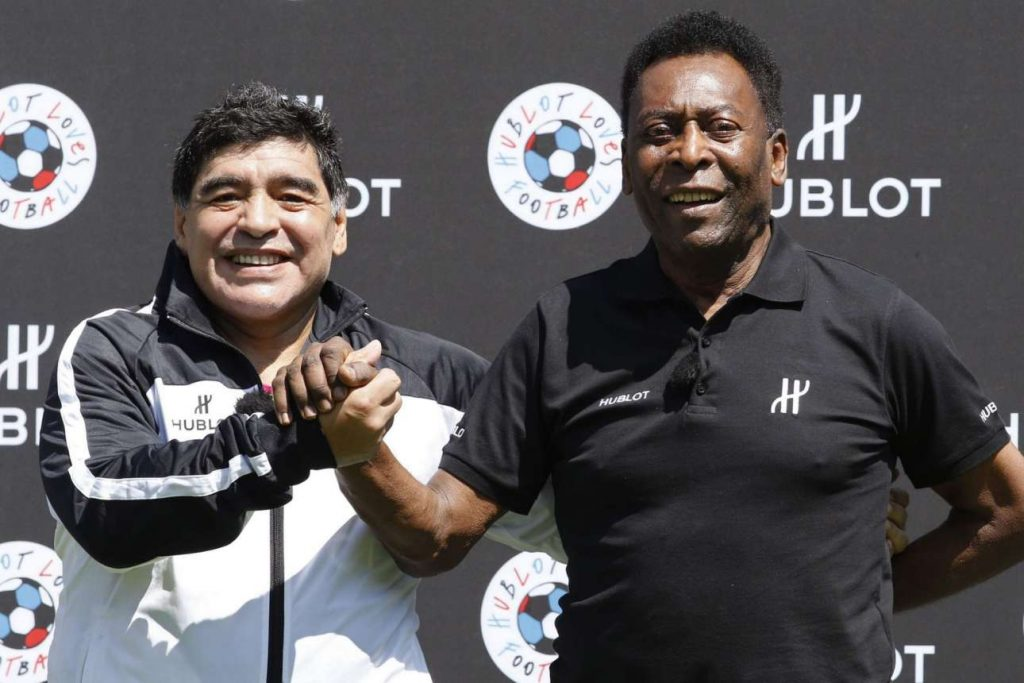 Diego-Maradona-and-Pele-at-football-match-organised-by-watchmaker-Hublot