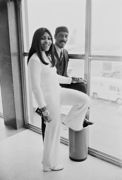 American musician Ike Turner (1931 - 2007) and his wife, singer, dancer, and actress Tina Turner at London Airport on their way to Los Angeles, London, 11th March 1969. (Photo by Len Trievnor/Daily Express/Hulton Archive/Getty Images)