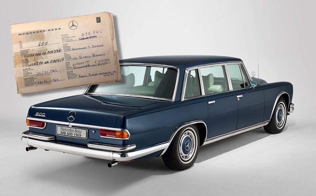 Η Mercedes 600 W100 του 1969 και, ένθετη, η άδεια κυκλοφορίας της στο όνομα του Αλέξανδρου Ωνάση