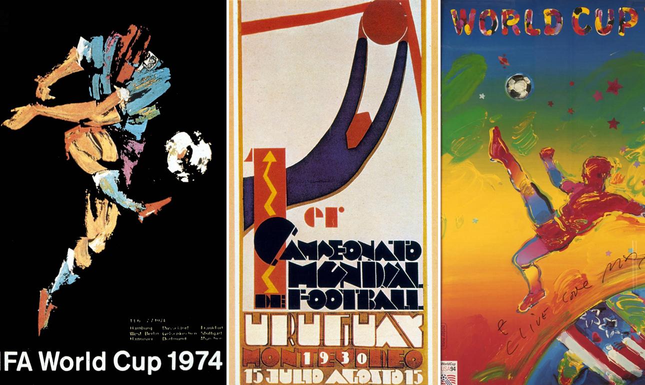 Τρία από τα πόστερ των Παγκοσμίων Κυπέλλων. Αριστερά αυτό του 1974 στη Γερμανία, στο κέντρο το πρώτο του 1930 στην Ουρουγουάη και δεξιά αυτό του 1994 στις ΗΠΑ
