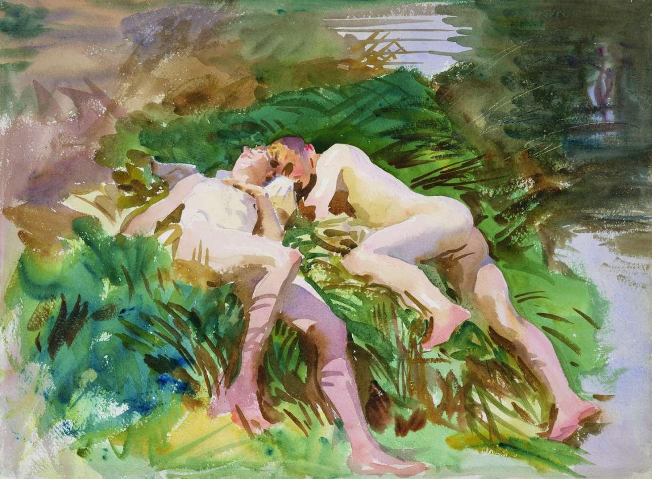 John Singer Sargent, «Tommies Bathing», 1918. Το καλοκαίρι του 1918, ο Σάρτζεντ ταξίδεψε στο Σομ της Γαλλίας κατά τη διάρκεια του Α΄Παγκοσμίου Πολέμου και ζωγράφισε βρετανούς στρατιώτες να κάνουν μπάνιο