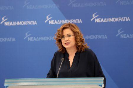 Η εκπρόσωπος  τύπου της Νέας Δημοκρατίας, ευρωβουλευτής Μαρία Σπυράκη μιλά στα κεντρικά γραφεία του Κόμματος κατά την ενημέρωση των πολιτικών συντακτών, Δευτέρα 11 Δεκεμβρίου 2017. ΑΠΕ-ΜΠΕ/ΑΠΕ-ΜΠΕ/Παντελής Σαίτας