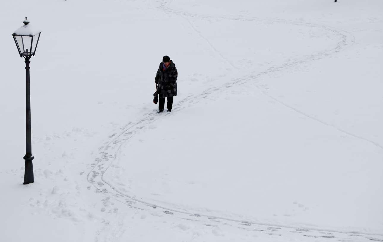 Πέμπτη, 18 Ιανουρίου, Γερμανία. Γυναίκα βαδίζει σε χιονισμένο πάρκο του χωριού Ιρσί