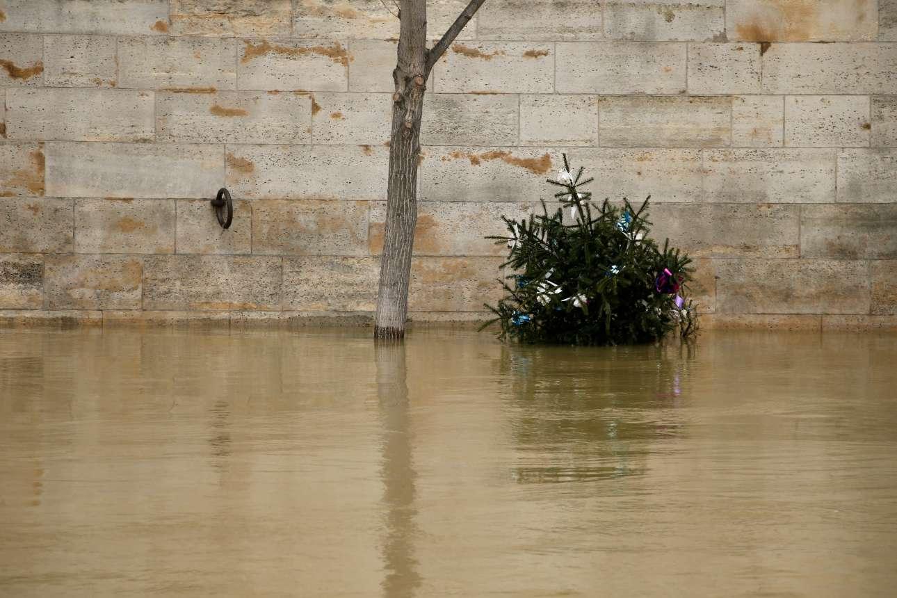 Ενα χριστουγεννιάτικο έλατο που κάποτε κοσμούσε τον πεζόδρομο στην όχθη του Σηκουάνα τώρα πλέει στα λασπόνερα