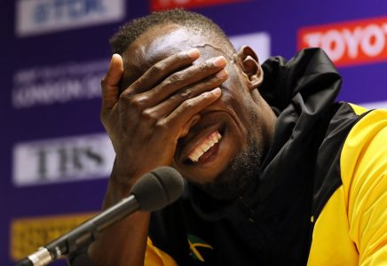 epa06143233 Jamaica's Usain Bolt reacts during a press conference on the final day of the London 2017 IAAF World Championships in London, Britain, 13 August 2017.  EPA/SEAN DEMPSEY