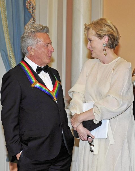 epa03493813 US actor Dustin Hoffman (L), one of the seven recipients of the 2012 Kennedy Center Honors, shares some thoughts with US actress Meryl Streep, one of the 2011 recipients as he waits to pose for a photo following a dinner hosted by United States Secretary of State Hillary Rodham Clinton at the U.S. Department of State in Washington, D.C., late 01 December 2012. The 2012 honorees are US blues musician Buddy Guy, US actor Dustin Hoffman, US late-night host David Letterman, Russian prima ballerina Natalia Makarova, and the British rock band Led Zeppelin (Robert Plant, Jimmy Page, and John Paul Jones). EPA/RON SACHS / POOL