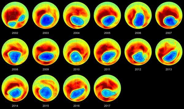 Η πορεία της μείωσης της τρύπας του όζοντος, από το 2002 μέχρι σήμερα (NASA)
