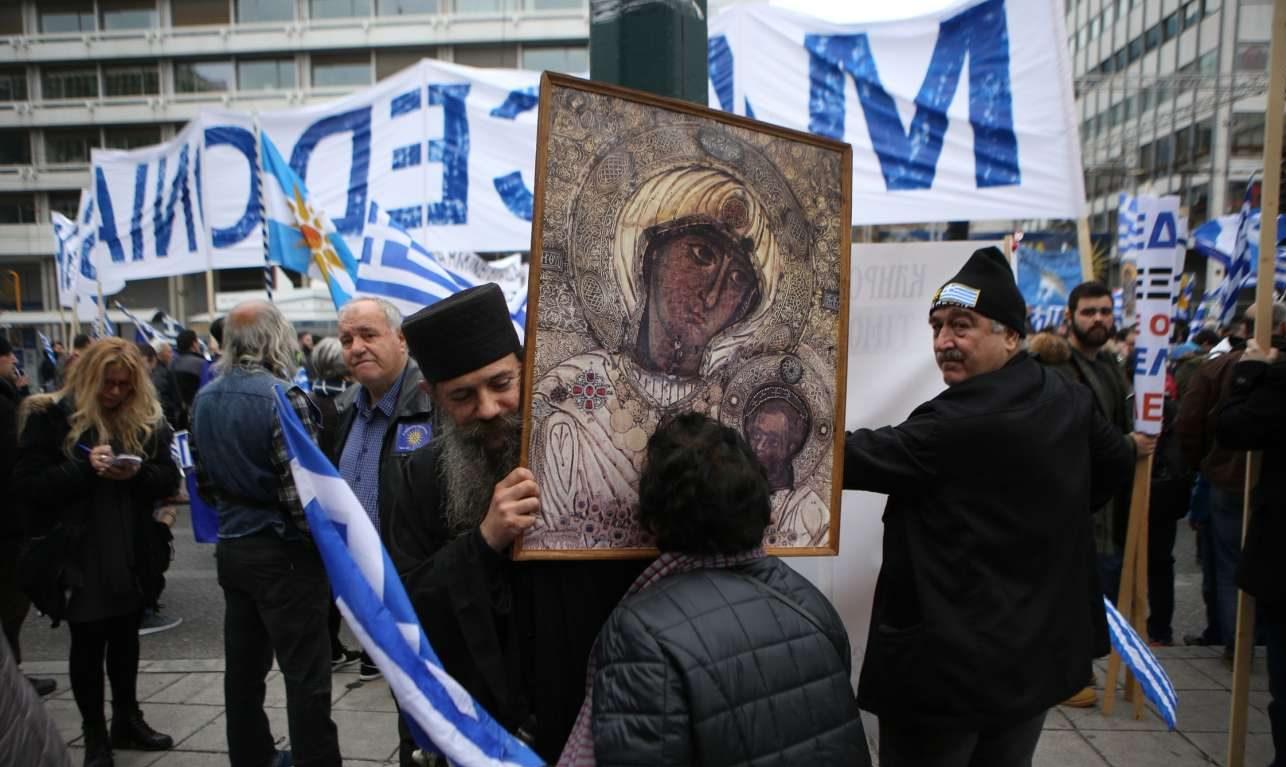 Με την εικόνα της Παναγίας στο συλλαλητήριο