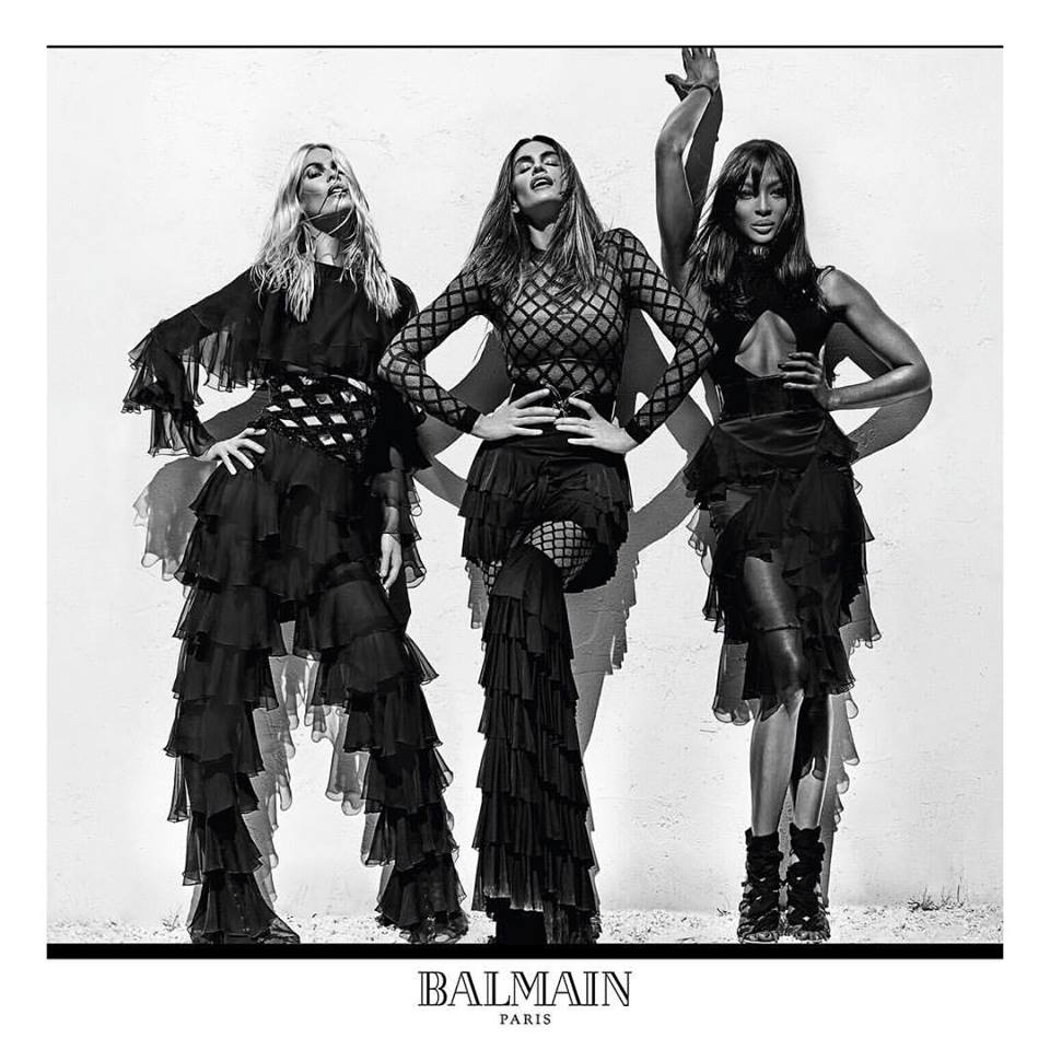 Σαν να μην πέρασε μια μέρα από τα '90ς...  Κλόντια Σίφερ, Σίντι Κρόφορντ και Ναόμι Κάμπελ πρωταγωνιστούν στη διαφημιστική καμπάνια του οίκου Balmain, το 2016