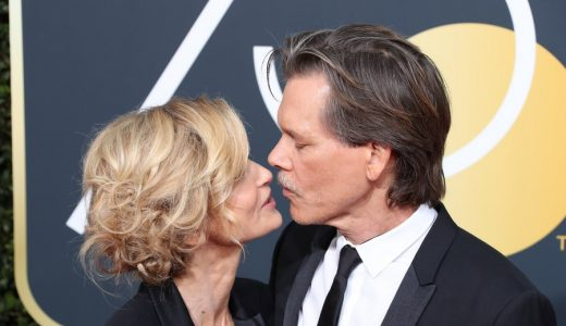 epa06424529 Kyra Sedgwick (L) and Kevin Bacon (R) arrive for the 75th annual Golden Globe Awards ceremony at the Beverly Hilton Hotel in Beverly Hills, California, USA, 07 January 2018.  EPA/MIKE NELSON