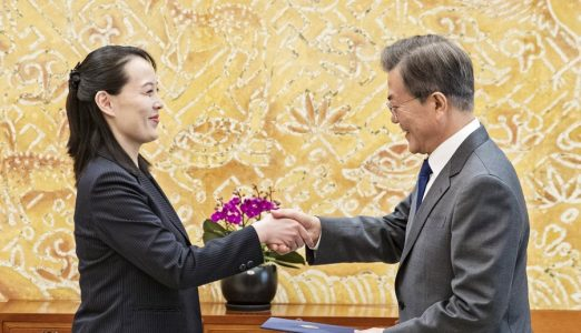 epaselect epa06510656 South Korean President Moon Jae-in (R) receives a letter from North Korean leader Kim Jong-un's sister Kim Yo-jong (L) in a meeting held at his office Cheong Wa Dae in Seoul, South Korea, 10 February 2018. North Korea's leader Kim Jong-un has extended an invitation to meet South Korean President Moon at the 'earliest date' possible for a third inter-Korean summit. The invitation letter was deliverd by Kim's sister Kim Yo-jong in a meeting between Moon and Yo-jong.  EPA/YONHAP SOUTH KOREA OUT