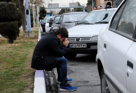 epa06539070 Relatives of passengers of an Iran Aseman Airline flight react while gathering around a mosque at the Mehr-Abad airport in Tehran, Iran, 18 February 2018. Media reported that a plane of Aseman Air crashed with around 60 passengers near Semirom, around the city of Isfahan. Reportedly all passengers are feared dead when the plane crashed in a mountainous region on its way from Tehran to Yassuj in South western Iran.  EPA/ABEDIN TAHERKENAREH