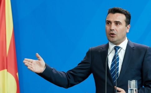 epa06549961 Prime Minister of the Former Yugoslav Republic of Macedonia Zoran Zaev talks to media during at a joint press conference with German Chancellor Angela Merkel  (unssen) at the Chancellery in Berlin, Germany, 21 February 2018. The first bilateral meeting between Zaev and German Chancellor Merkel took place on the sidelines of the EU-Western Balkans Summit in July 2017.