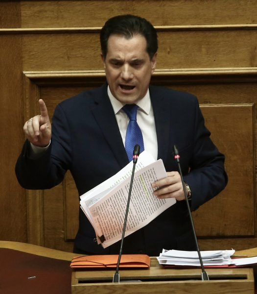 Ο αντιπρόεδρος της ΝΔ Άδωνις Γεωργιάδης μιλάει στη συζήτηση και ψηφοφορία επί της προτάσεως της κυβερνητικής πλειοψηφίας για τη συγκρότηση επιτροπής προκαταρκτικής εξέτασης για την υπόθεση NOVARTIS, στην Ολομέλεια της Βουλής, Τετάρτη 21 Φεβρουαρίου 2018.
