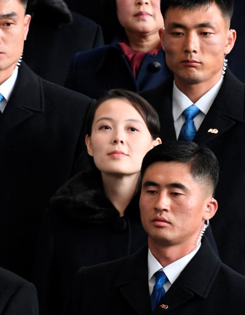 North Korea's leader Kim Jong Un's younger sister Kim Yo Jong arrives at Incheon International Airport, South Korea, in this photo taken by Kyodo February 9, 2018. Mandatory credit Kyodo/via REUTERS ATTENTION EDITORS - THIS IMAGE WAS PROVIDED BY A THIRD PARTY. MANDATORY CREDIT. JAPAN OUT. NO COMMERCIAL OR EDITORIAL SALES IN JAPAN.