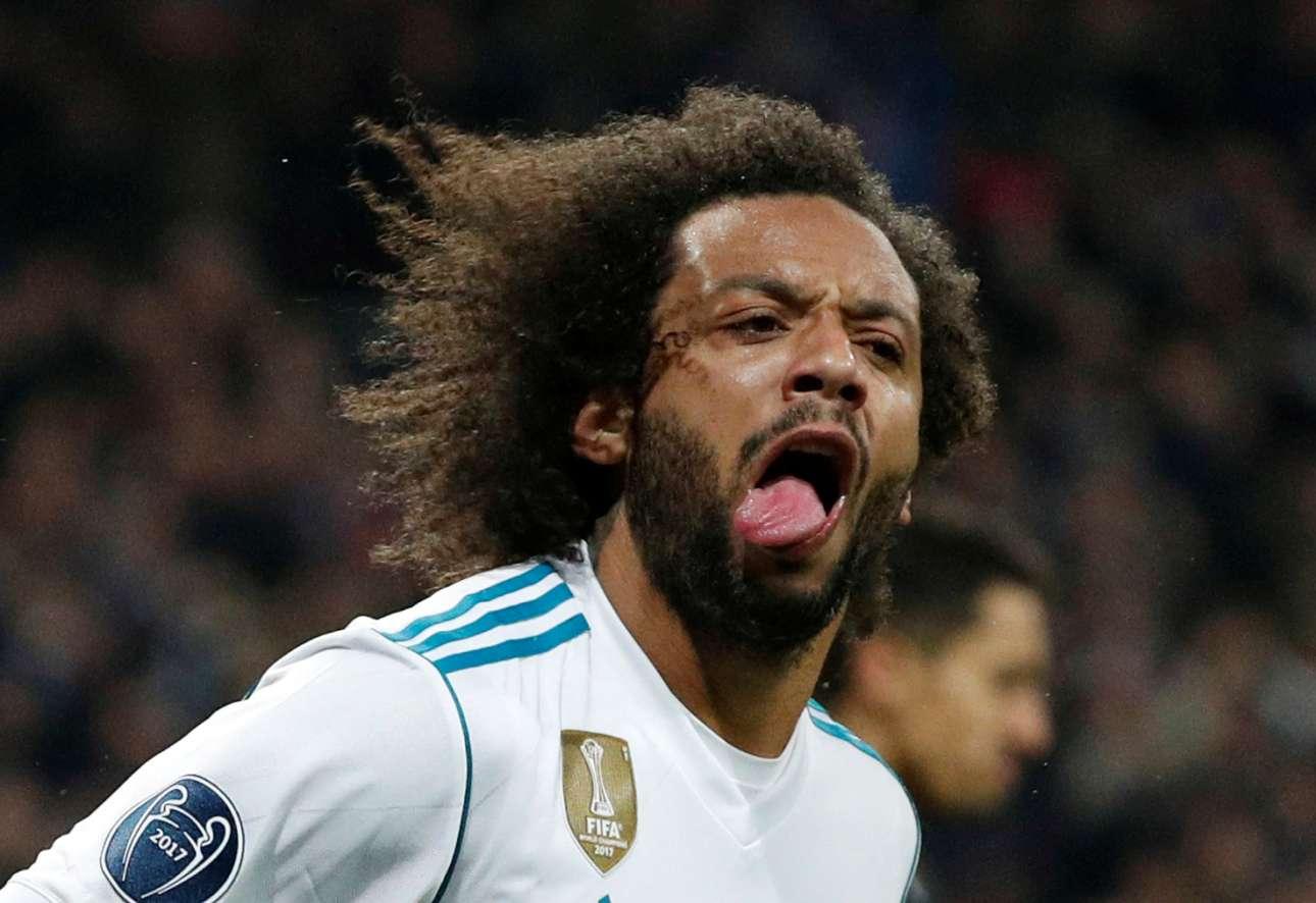 Τετάρτη, 14 Φεβρουαρίου, Ισπανία. Ο βραζιλιάνος αμυντικός της Ρεάλ Μαδρίτης, Μαρσέλο, έχει μόλις πετύχει το τρίτο γκολ της ομάδας του στον αγώνα με την Παρί σεν Ζερμέν. Ο ενθουσιασμός του είναι εμφανής