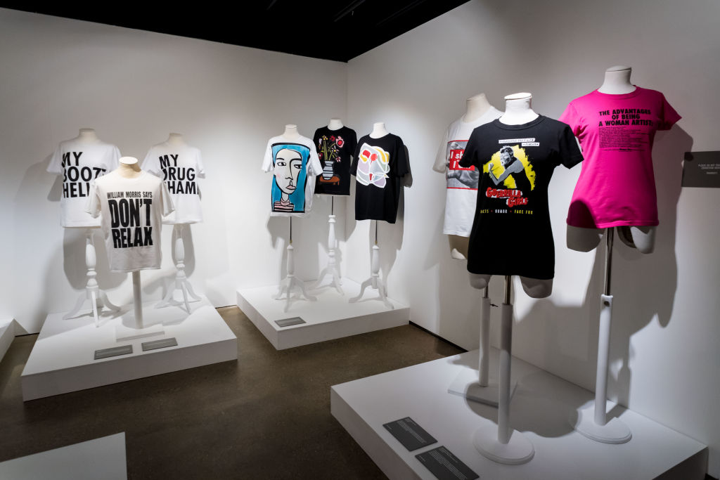 LONDON, ENGLAND - FEBRUARY 8: General views of the show space before the T-Shirt Cult Culture Subversion at The Fashion and Textile Museum on February 8, 2018 in London, England. (Photo by Ian Gavan/Getty Images for The Fashion and Textile Museum)