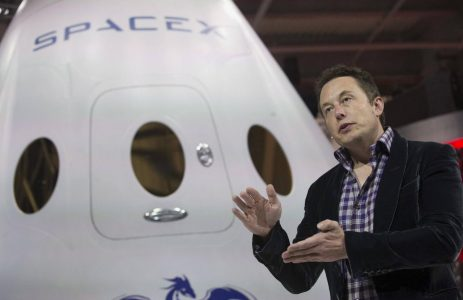 SpaceX CEO Musk speaking after unveiling the Dragon V2 spacecraft in Hawthorne