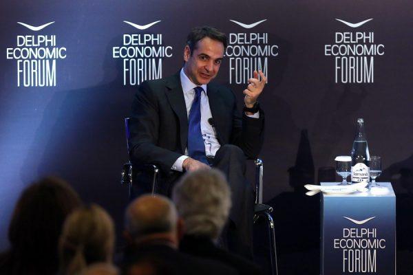 Ο Κυριάκος Μητσοτάκης στην ομιλία του στο Οικονομικό Φόρουμ Δελφών (ΑΠΕ-ΜΠΕ/ΟΡΕΣΤΗΣ ΠΑΝΑΓΙΩΤΟΥ)