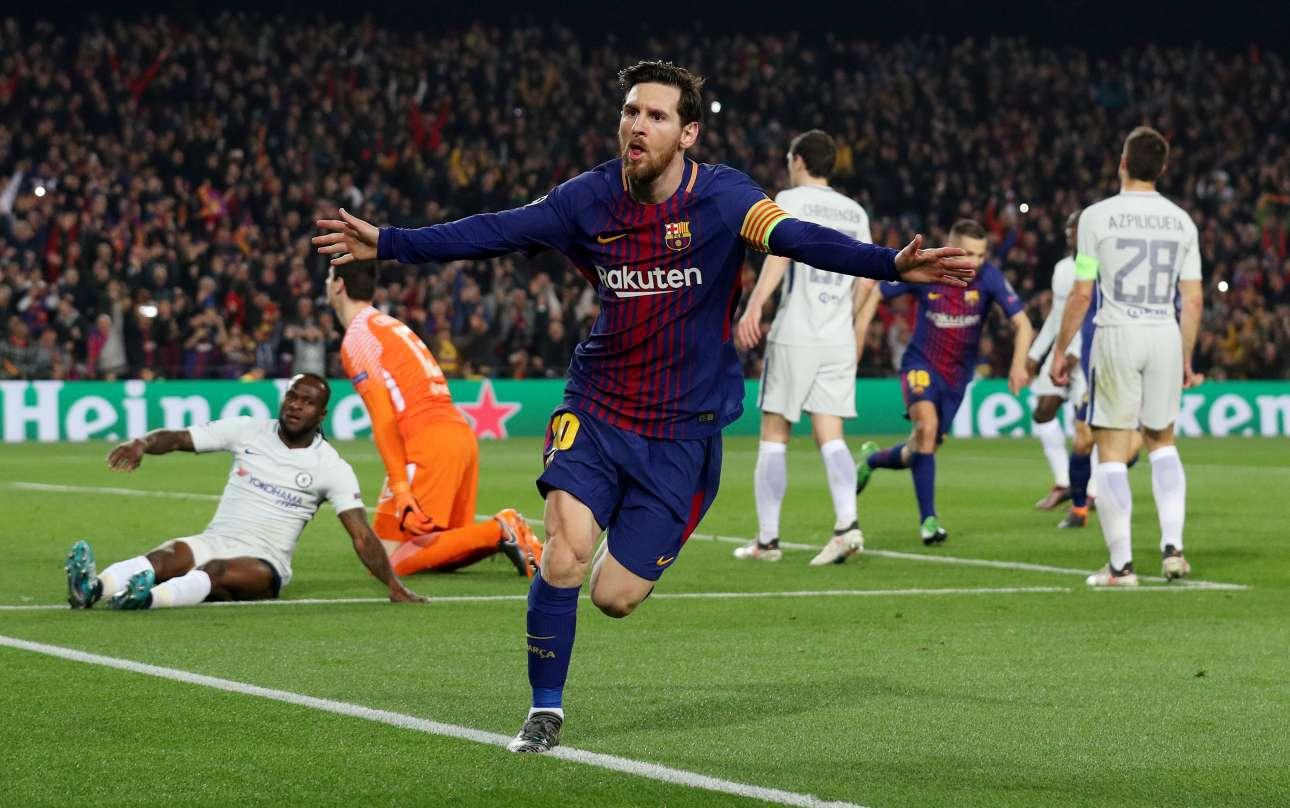 Τετάρτη, 14 Μαρτίου, Βαρκελώνη. Ο Λιονέλ Μέσι πανηγυρίζει λίγα δευτερόλεπτα αφού έχει σκοράρει για δεύτερη φορά κόντρα στην Τσέλσι. Κάπως έτσι η Μπαρτσελόνα απέκλεισε την αγγλική ομάδα και συνέχισε την πορεία της στο Champions League
