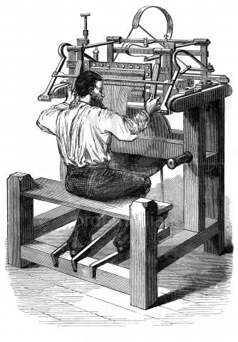 IH υφαντική μηχανή που εφηύρε ο Ουίλιαμ Λι, η οποία θορύβησε την Βασίλισσα Ελισάβετ Α' σχετικά με το μέλλον της εργατικής τάξης