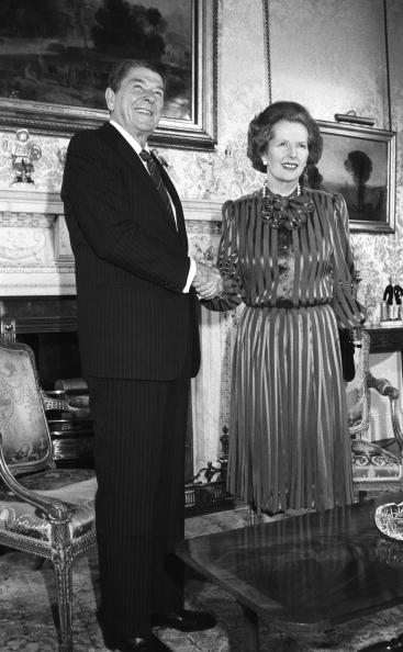 US President Ronald Reagan shakes hands with British Prime Minister Margaret Thatcher at 10 Downing Street, London on June 05, 1984. (Photo by Rogers/Express/Getty Images)
