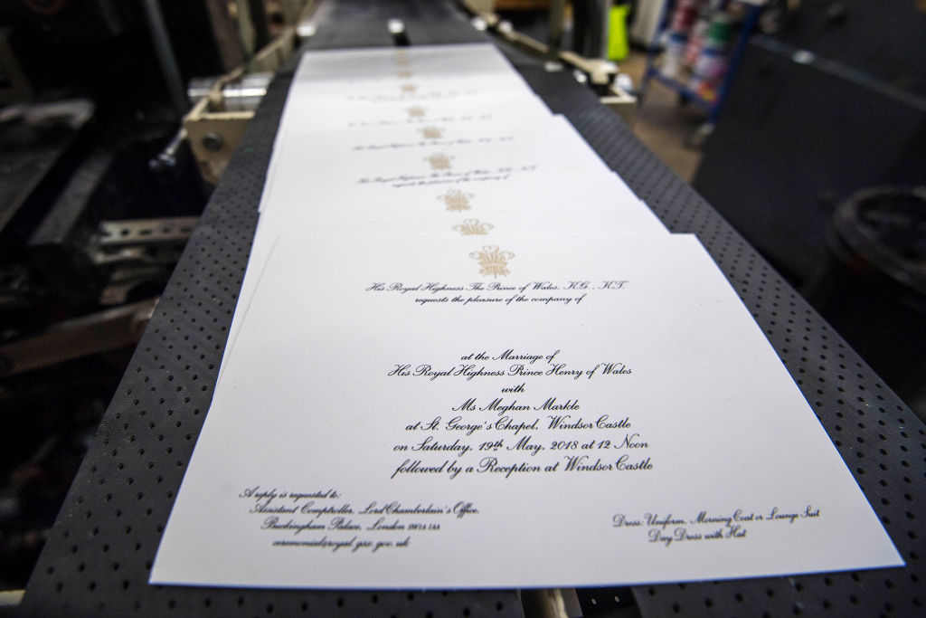 LONDON, ENGLAND - MARCH 22: Invitations are printed at the workshop of Barnard and Westwood for Prince Harry and Meghan Markle's wedding on March 22, 2018 in London, England. The couple will marry in St. George's Chapel at Windsor Castle on May 19. (Photo by Victoria Jones - WPA Pool/Getty Images)