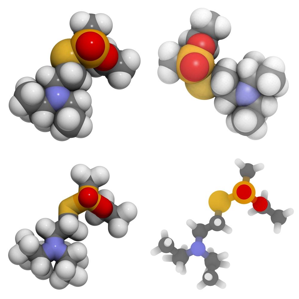 VX μόριο νευρικού παράγοντα, χημική δομή. Το νευρικό αέριο VX χρησιμοποιείται σε όπλα μαζικής καταστροφής