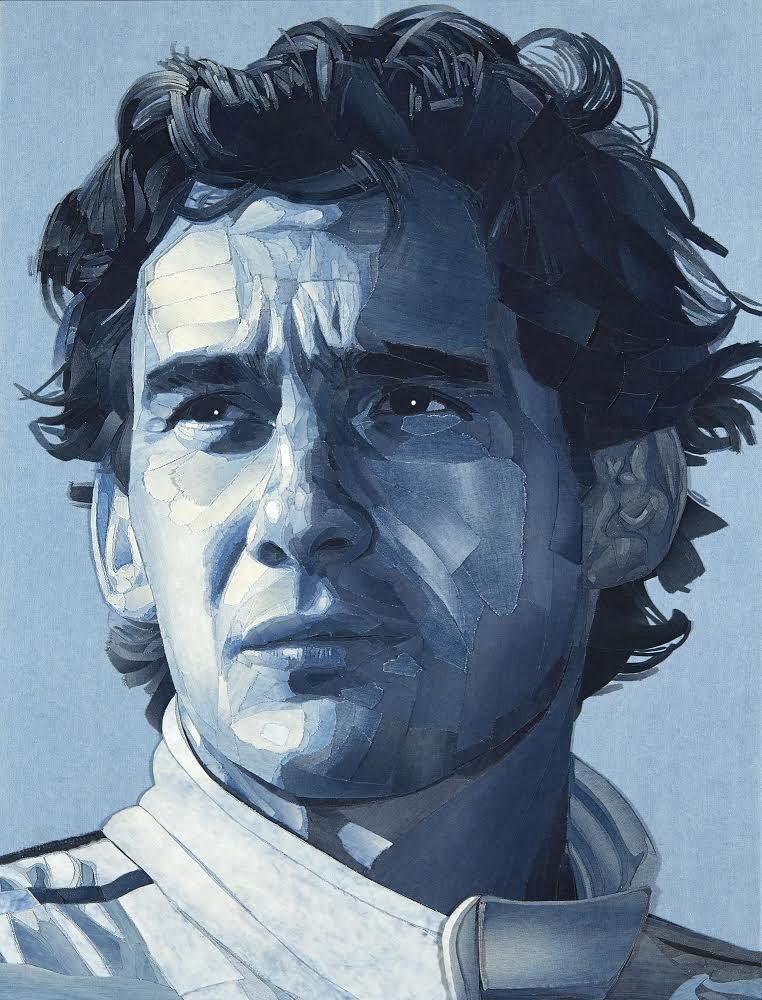 Πορτρέτο του Αϊρτον Σένα που φιλοτέχνησε ο βρετανός εικαστικός Ιαν Μπέρι, το 2014, για λογαριασμό του Ινστιτούτου Αϊρτον Σένα. Το πορτρέτο έχει δημιουργηθεί από κομμάτια παντελονιών τζιν